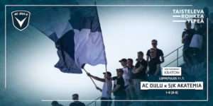 Liput liehuivat AC Oulun voiton kunniaksi (Kuva: Elias Mustonen)