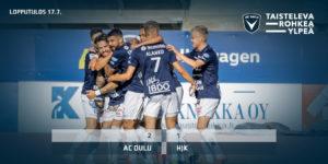 AC Oulu juhlii Dennis Salanovicin pelin ensimmäistä maalia. (Kuva: Elias Mustonen).