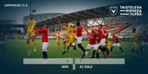 Hyvässä maalivireessä oleva Samu Alanko ponnistaa korkeuksiin puskemaan palloa. (Kuva: Antero Lehtonen / AC Oulu).